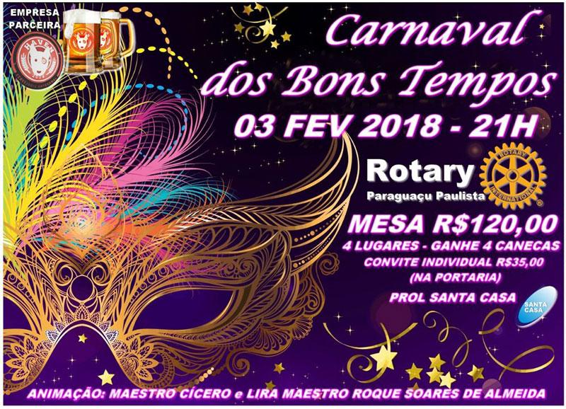 Rotary Clube promove Carnaval dos Bons Tempos em Paraguaçu
