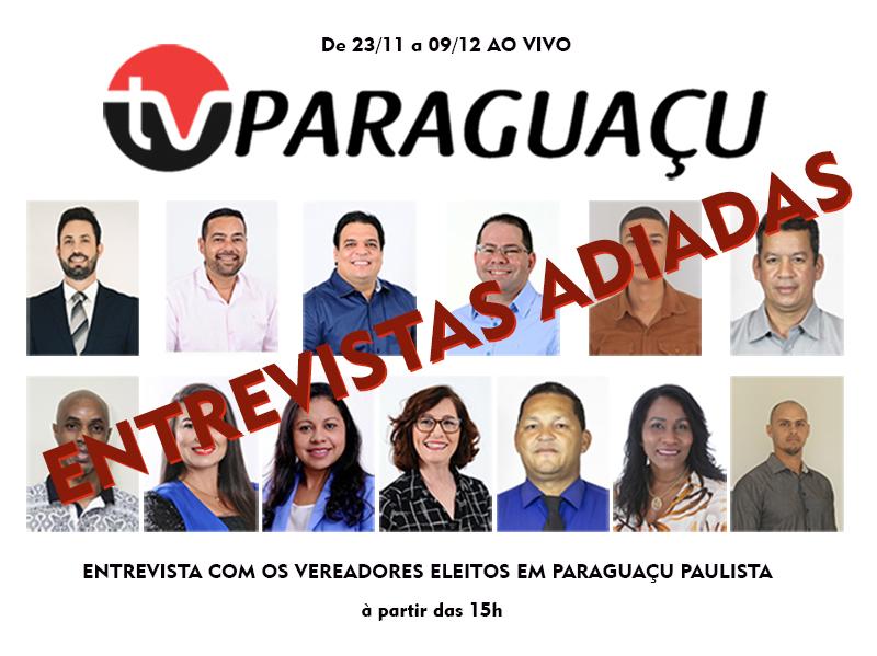 Entrevistas com vereadores eleitos serão remarcadas pela TV Paraguaçu