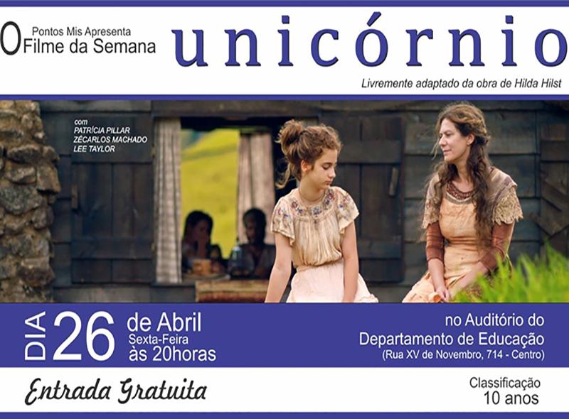"""Pontos Mis exibe o filme """"Unicórnio"""" na sexta em Paraguaçu Paulista"""