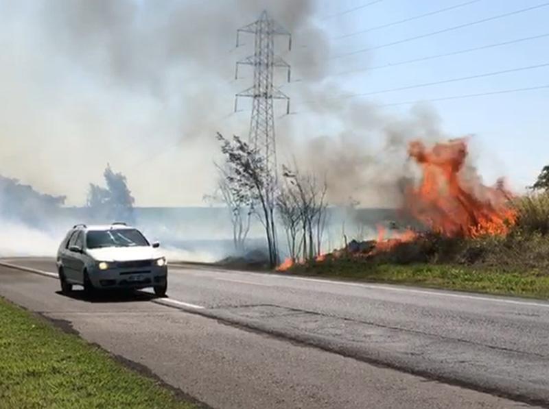 Um ano após tragédia que matou 5 pessoas, incêndio volta a atingir vegetação às margens da SP-284