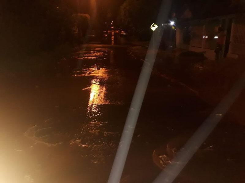 Chuva forte deixa vias alagadas e causa queda de árvores em Bastos