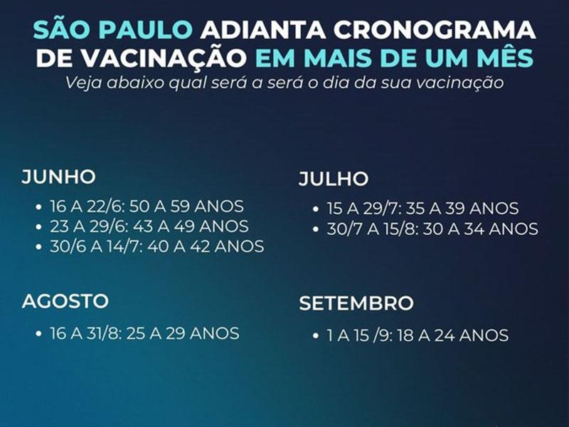 SP antecipa calendário de vacinação e promete imunizar toda a população adulta até setembro