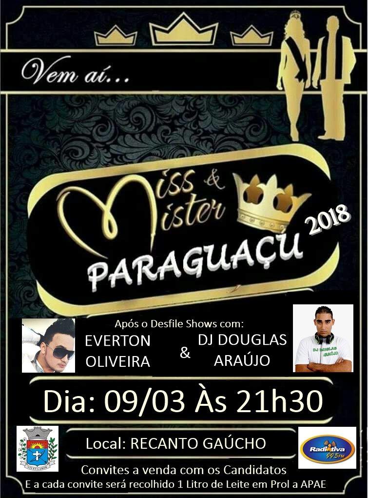 Ingressos para o Miss e Mister Paraguaçu 2018 já estão a venda