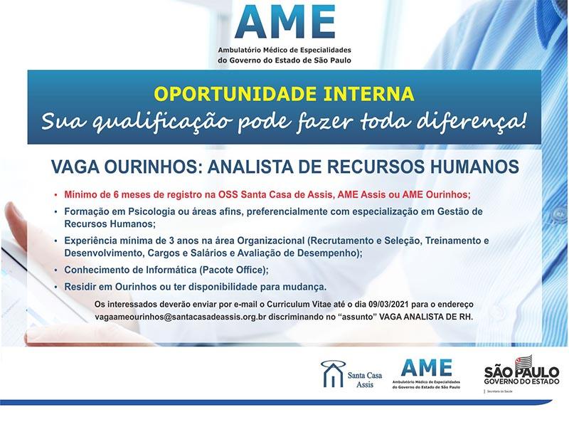 AME Ourinhos está contratando Analista de Recursos Humanos