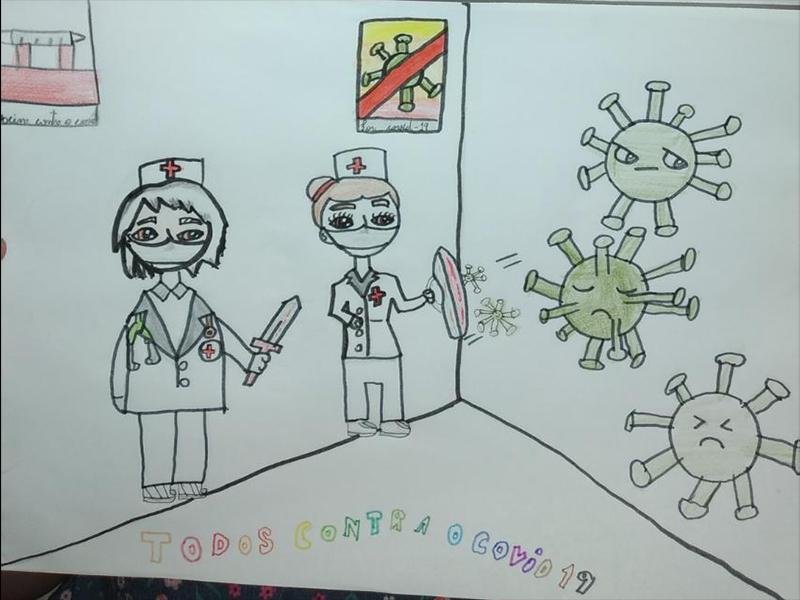 Sensibilizada com o trabalho da equipe da Saúde em meio à pandemia, aluna homenageia profissionais