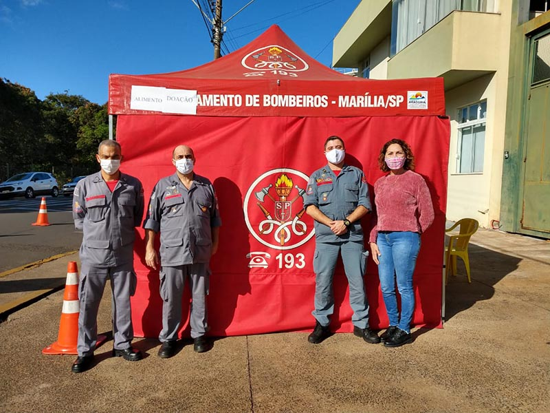 Drive Thru Solidário do Corpo de Bombeiros arrecada mais de 600 quilos de alimentos em Assis